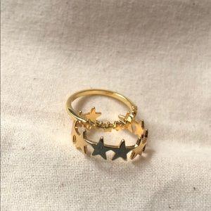 Baublebar Stars Gold Rings Set Size 7.5